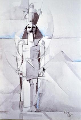Matthias Koeppel, Aus der Serie : Skizzen von der Ägyptenreise, Aquarell, 21 x 29 cm, 2010