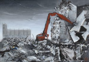 SOOKI, Abriss des DDR-Außenministeriums, 50 x 70 cm, Öl/ Lwd., 1995