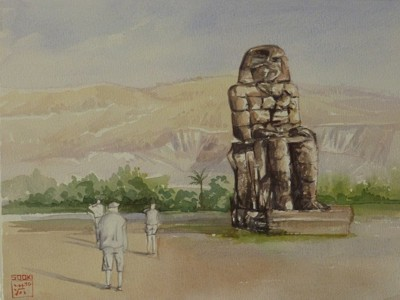 SOOKI, Memnon - Koloss, 30 x 40 cm, Aquarell/ Buttenpapier(600 g), 2010